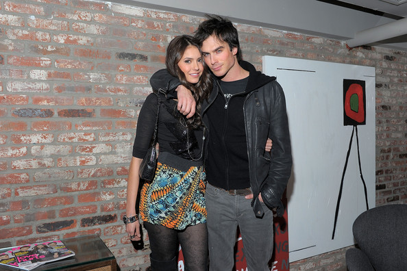 nina dobrev and ian somerhalder kiss. (L-R) Actors Nina Dobrev and
