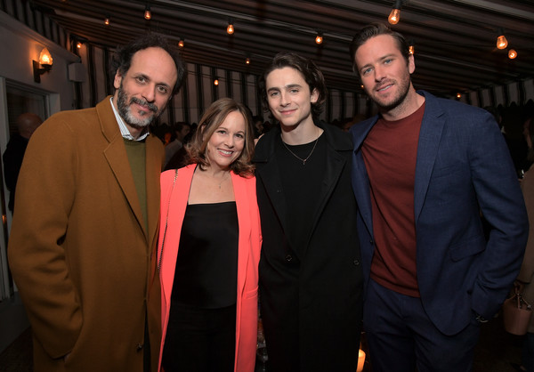 Vanity Fair, Barneys New York and Sony Pictures Classics Celebrate 'Call Me By Your Name' [vanity fair,event,fashion,suit,formal wear,tuxedo,timothee chalamet,robin urdang,armie hammer,luca guadagnino,call me by your name,l-r,sony pictures classics,barneys new york,celebration]