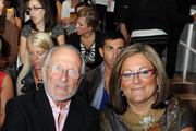 Designer Stan Herman (L) and Senior Vice President of IMG Fashion Fern Mallis attend Mercedes-Benz Fashion Week at Bryant Park on September 14, 2009 in New York City.