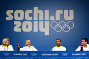 (L-R) German Ice Skating Union vice president Elke Treitz, pairs ice skaters Aljona Savchenko and Robin Szolkowy of Germany and coach Ingo Steuer attend a Team Germany press conference during Day 2 of the Sochi 2014 Winter Olympics at the Main Press Center (MPC) on February 9, 2014 in Sochi, Russia.