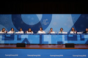 (L-R) Freestyle skiers Annalisa Drew, Devin Logan, Brita Sigourney, Maddie Bowman, Aaron Blunck, Alex Ferreira, Torin Yater-Wallace and David Wise of the United States attend a press conference at the Main Press Centre during the PyeongChang 2018 Winter Olympic Games on February 11, 2018 in Pyeongchang-gun, South Korea.