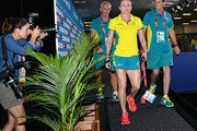 Sally Pearson of Australia leaves her press conference as she withdraws from the the games due to injury on day one on day one of the Gold Coast 2018 Commonwealth Games at Gold Coast Convention and Exhibition Centre on April 5, 2018 on the Gold Coast, Australia.