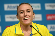 Sally Pearson of Australia during a press conference as she withdraws from the the games due to injury  on day one of the Gold Coast 2018 Commonwealth Games at Gold Coast Convention and Exhibition Centre on April 5, 2018 on the Gold Coast, Australia.
