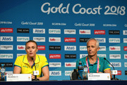 Sally Pearson of Australia and Australia team doctor Paul Blackman look on in a press conference as she withdraws from the the games due to injury on day one of the Gold Coast 2018 Commonwealth Games at Gold Coast Convention and Exhibition Centre on April 5, 2018 on the Gold Coast, Australia.