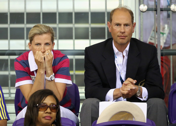 Sophie, Countess of Wessex and Prince Edward, Earl of Wessex watch the English Men's Team compete in the Team Sprint Final at the Chris Hoy Velodrome in the Emirates Arena during the Commonwealth games on July 24, 2014 in Glasgow, Scotland.