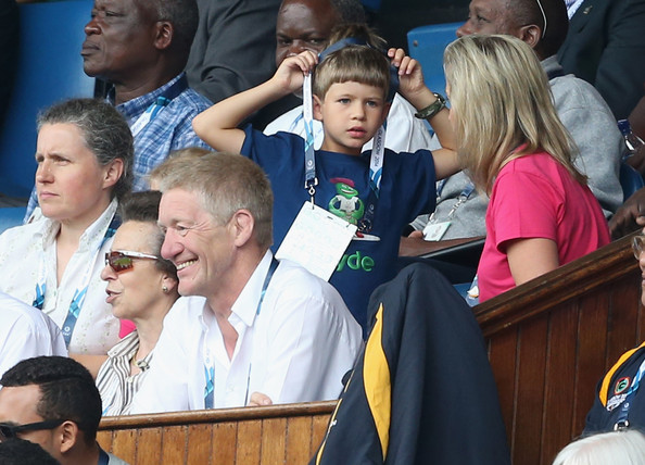 Princess Anne, Princess Royal, Sophie, Countess of Wessex and her children James, Viscount Severn and Lady Louise Windsor watch Scotland Play New Zealand in the Rugby Severns at the Ibrox Stadium during the Commonwealth games on July 26, 2014 in Glasgow, Scotland.