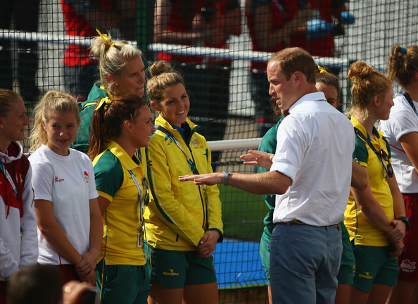 The Duke of Cambridge greets members of the Australian women's hockey team at Glasgow National Hockey Centre during day five of the Glasgow 2014 Commonwealth Games on July 28, 2014 in Glasgow, United Kingdom.