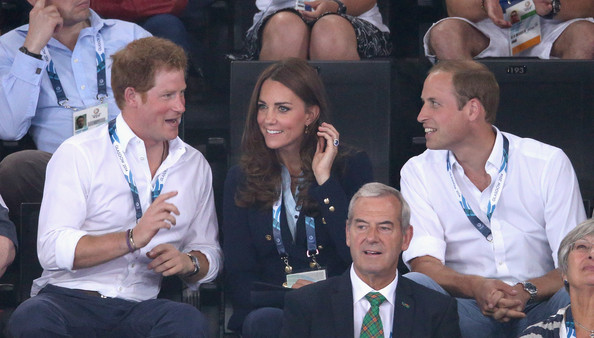 Prince Harry, Catherine, Duchess of Cambridge and Prince William, Duke of Cambridge the Gymnastics at the SECC Hydro during the 20th Commonwealth games on July 28, 2014 in Glasgow, Scotland.