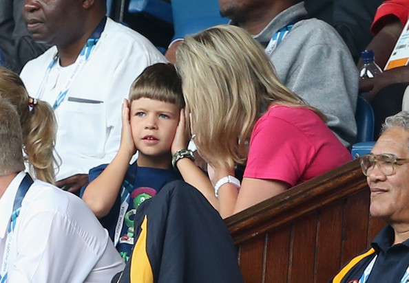 Sophie, Countess of Wessex and her children James, Viscount Severn watch Scotland Play New Zealand in the Rugby Severns at the Ibrox Stadium during the Commonwealth games on July 26, 2014 in Glasgow, Scotland.