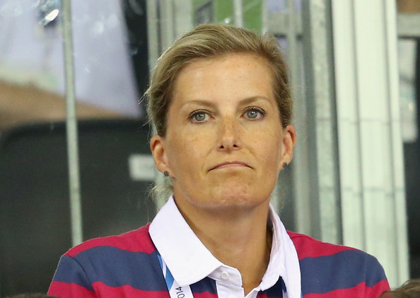 Sophie, Countess of Wessex watches the English Men's Team compete in the Team Pursuit at the Chris Hoy Velodrome in the Emirates Arena during the Commonwealth games on July 24, 2014 in Glasgow, Scotland.
