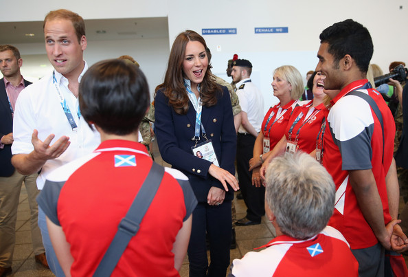 Catherine, Duchess of Cambridge and Prince William, Duke of Cambridge meet Games Volunteers in the SECC as she attends Commonwealth games on July 28, 2014 in Glasgow, Scotland.