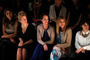 Barbara Schoeneberger, Natalia Woerner and Ursula Karven attend the Marc Cain show during Mercedes-Benz Fashion Week Autumn/Winter 2014/15 at Brandenburg Gate on January 16, 2014 in Berlin, Germany.