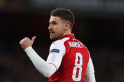 Aaron Ramsey of Arsenal during the UEFA Europa League quarter final leg one match between Arsenal FC and CSKA Moskva at Emirates Stadium on April 5, 2018 in London, United Kingdom.
