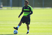 Santi Cazorla of Arsenal in action during an Arsenal training session on the eve of their UEFA Champions League Group A match against Ludogorets Razgrad at London Colney on October 18, 2016 in St Albans, England.