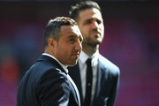 Santi Cazorla of Arsenal and Cesc Fabregas of Chelsea speak prior to The Emirates FA Cup Final between Arsenal and Chelsea at Wembley Stadium on May 27, 2017 in London, England.