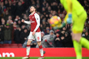 Aaron Ramsey of Arsenal celebrates after scoring his sides second goal during the Premier League match between Arsenal and Everton at Emirates Stadium on February 3, 2018 in London, England.