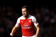 Aaron Ramsey of Arsenal in action during the Premier League match between Arsenal FC and Everton FC at Emirates Stadium on September 23, 2018 in London, United Kingdom.