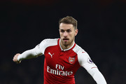 Aaron Ramsey of Arsenal in action during the Premier League match between Arsenal and Manchester United at Emirates Stadium on December 2, 2017 in London, England.