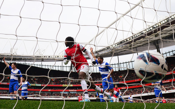 Gervinho of Arsenal (27) celebrates as he scores their first goal during the Barclays Premier League match between Arsenal and Reading at Emirates Stadium on March 30, 2013 in London, England.