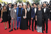 """(L-R from 2nd L) Producer Sebastian Ortega, actor Lorenzo Ferro, producer Pedro Almodovar, actress Cecilia Roth, director Luis Ortega, actor Chino Darin, actress Mercedes Moran and actor Peter Lanzani from the film 'El Angel' attend the screening of """"Ash Is The Purest White (Jiang Hu Er Nv)"""" during the 71st annual Cannes Film Festival at Palais des Festivals on May 11, 2018 in Cannes, France."""
