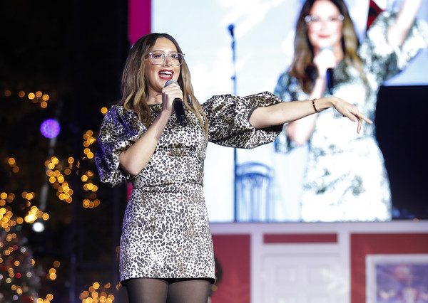 2019 Christmas At The Grove: A Festive Tree Lighting [performance,fashion,event,talent show,yellow,music artist,stage,performing arts,public event,singer,california,los angeles,the grove,the grove: a festive tree lighting,christmas,celebration,ashley tisdale]