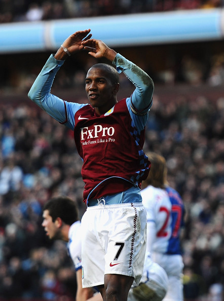 Ashley Young Ashley Young of Aston Villa celebrates his second goal during the Barclays Premier League match between Aston Villa and Blackburn Rovers at Villa Park on February 26, 2011 in Birmingham, England.