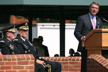 Ashton Carter Army Holds Change of Responsibility Ceremony Transitioning Gen. Mark Milley Into Army Chief Of Staff