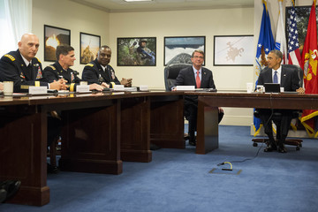 Ashton Carter President Obama Receives an Update on ISIS at the Pentagon