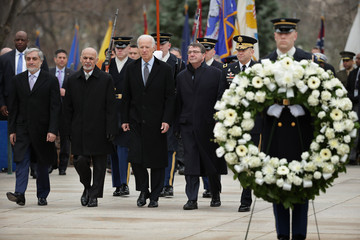 Ashton Carter Afghanistan's President Ghani Lays Wreath At Tomb Of Unknown Solider