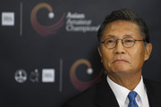 Kwang-soo Hur, President of the Asia-Pacific Golf Confederation, attends a news conference ahead of the Asian Amateur Championship at the Mission Hills Golf Club on October 28, 2009 in Shenzhen, Guangdong, China. The inaugural Asian Amateur Championship will be held from 29 October to 1 November.