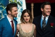 (L-R) Actor Dan Stevens, Actress Emma Watson and Luke Evans arrive for the Asian premiere of the Disney Movie The Beauty and The Beast in Shanghai on February 27, 2017. / AFP / Johannes EISELE
