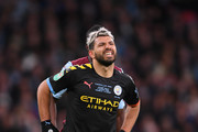 Sergio Aguero of Manchester City reacts with an injury that forces him to be substituted during the Carabao Cup Final between Aston Villa and Manchester City at Wembley Stadium on March 01, 2020 in London, England.