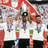 Matt Targett Photos - Matt Targett of Fulham, Cyrus Christie of Fulham, and Ryan Fredericks of Fulham celebrate with the trophy following their sides victory in the Sky Bet Championship Play Off Final between Aston Villa and  Fulham at Wembley Stadium on May 26, 2018 in London, England. - Aston Villa vs. Fulham - Sky Bet Championship Play Off Final