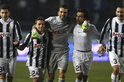 (L-R) Luca Marrone, Emanuele Giaccherini, Gianluigi Buffon, Andrea Pirlo and Giorgio Chiellini of Juventus FC celebrate a victory at the end of the Serie A match between Atalanta BC and Juventus FC at Stadio Atleti Azzurri d'Italia on January 21, 2012 in Bergamo, Italy.