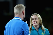 Australian athlete, Sally Pearson is interviewed during athletics on day nine of the Gold Coast 2018 Commonwealth Games at Carrara Stadium on April 13, 2018 on the Gold Coast, Australia.