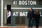 Former Boston Red Sox player and current player/coach for the Triple-A Iowa Cubs enters the field from the Green Monster door prior to the game between the Boston Red Sox and Atlanta Braves at Fenway Park on May 28, 2014 in Boston, Massachusetts. The pregame ceremony commemorated the 2004 World Series Championship Boston Red Sox team.