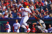 Andrew McCutchen #22 of the Philadelphia Phillies hits a home run on his first at bat in the first inning against the Atlanta Braves on Opening Day at Citizens Bank Park on March 28, 2019 in Philadelphia, Pennsylvania.
