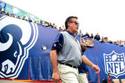 Head coach Jeff Fisher of the Los Angeles Rams takes to the field before the game against the Atlanta Falcons at Los Angeles Memorial Coliseum on December 11, 2016 in Los Angeles, California.