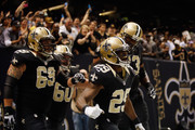 Chris Ivory #29 of the New Orleans Saints reacts after scoring a touchdown against the Atlanta Falcons at The Mercedes-Benz Superdome on November 11, 2012 in New Orleans, Louisiana.