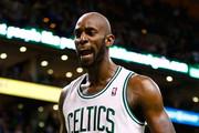 Kevin Garnett #5 of the Boston Celtics reacts following a takeaway in the final seconds of overtime against the Atlanta Hawks during the game on March 8, 2013 at TD Garden in Boston, Massachusetts. NOTE TO USER: User expressly acknowledges and agrees that, by downloading and or using this photograph, User is consenting to the terms and conditions of the Getty Images License Agreement.
