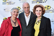 """Radio host Libbe HaLevy, International Uranium Film Festival director Norbert G. Suchanek and actress Kat Kramer attend the Atomic Age Cinema Fest Premiere of """"The Man Who Saved The World"""" at Raleigh Studios on April 27, 2016 in Los Angeles, California."""