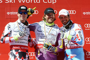 (FRANCE OUT) Kjetil Jansrud of Norway wins overall World Cup downhill globe, Hannes Reichelt of Austria takes 2nd place and Guillermo Fayed of France takes 3rd place during the Audi FIS Alpine Ski World Cup Finals Men's Downhill on March 18, 2015 in Meribel, France.