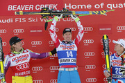 (FRANCE OUT) Hannes Richest of Austria takes 1st place,Kjetil Jansrud of Norway Takes 2nd placeAlexis Pinturault of France Takes 3rd place  during the Audi FIS Alpine Ski World Cup Men's SuperG on December 06, 2014 in Beaver Creek, Colorado.