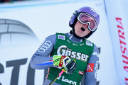 Tessa Worley of France celebrates during the Audi FIS Alpine Ski World Cup Women's Giant Slalom on December 29, 2017 in Lienz, Austria.