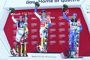 (FRANCE OUT) Frida Hansdotter of Sweden takes 1st place, Wendy Holdener of Switzerland takes 2nd place, Petra Vlhova of Slovakia takes 3rd place during the Audi FIS Alpine Ski World Cup Women's Slalom on December 29, 2015 in Lienz, Austria.
