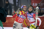 (FRANCE OUT) Maria Riesch (L) of Germany takes 2nd place and Susanne Riesch of Germany takes 3rd place during the Audi FIS Alpine Ski World Cup Women's Slalom on December 13, 2009 in Are, Sweden.