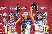 (FRANCE OUT) Sandrine Aubert of France takes 1st place, Maria Riesch of Germany takes 2nd place and Susanne Riesch of Germany takes 3rd place during the Audi FIS Alpine Ski World Cup Women's Slalom on December 13, 2009 in Are, Sweden.