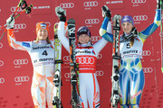 (FRANCE OUT) (L-R) Tanja Poutianen of Finland,  Tessa Worley of France and Tina Maze of Slovenia celebrate on the podium during the Audi FIS Alpine Ski World Cup Women's Giant Slalom on December 12, 2010 in St.Moritz, Switzerland.
