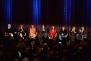 (L-R) Film critic John Horn, actors Julia Roberts, Julianne Nicholson, Dermot Mulroney, Juliette Lewis, Chris Cooper, Margo Martindale and George Clooney onstage during the 'August: Osage County' screening presented by The Weinstein Company at Westwood Village Theatre on November 11, 2013 in Los Angeles, California.
