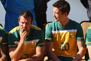 Lucas Neill and Harry Kewell of Autsrlia look on Australia Socceroos pose for an official 2010 FIFA World Cup team photo at Kloofzicht Lodge on June 21, 2010 in Muldersdrift, South Africa.